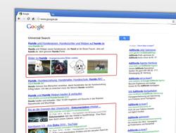 Universal Search in den Google Suchergebnissen